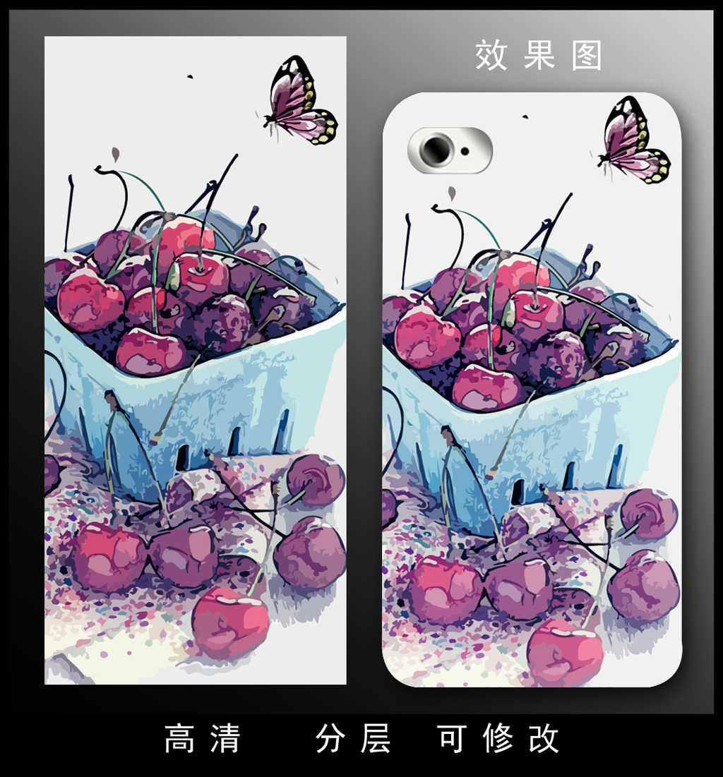 手机 素描/[版权图片]时尚精美彩绘素描樱桃水果手机壳