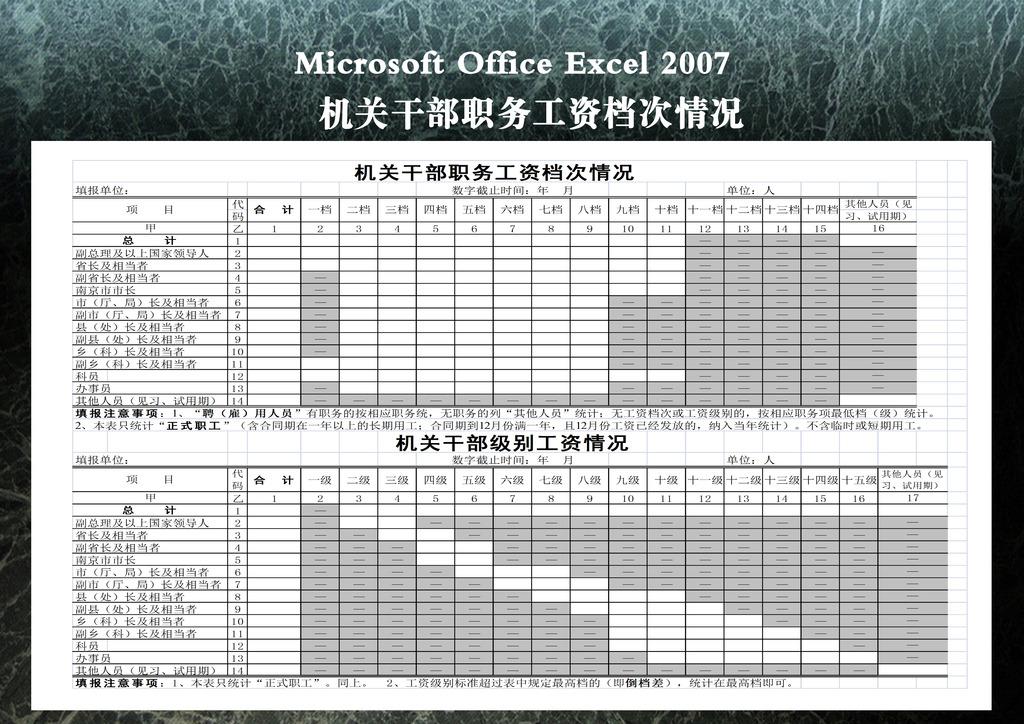 办公|ppt模板 excel模板 财务报表 > 机关干部职务工资档次情况  下一
