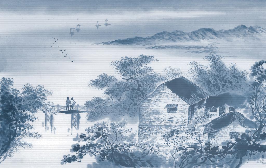 浪漫 墙纸 室内装饰 温馨 淡雅 唯美 梦幻 简洁 蓝色 花朵 雅致 手绘