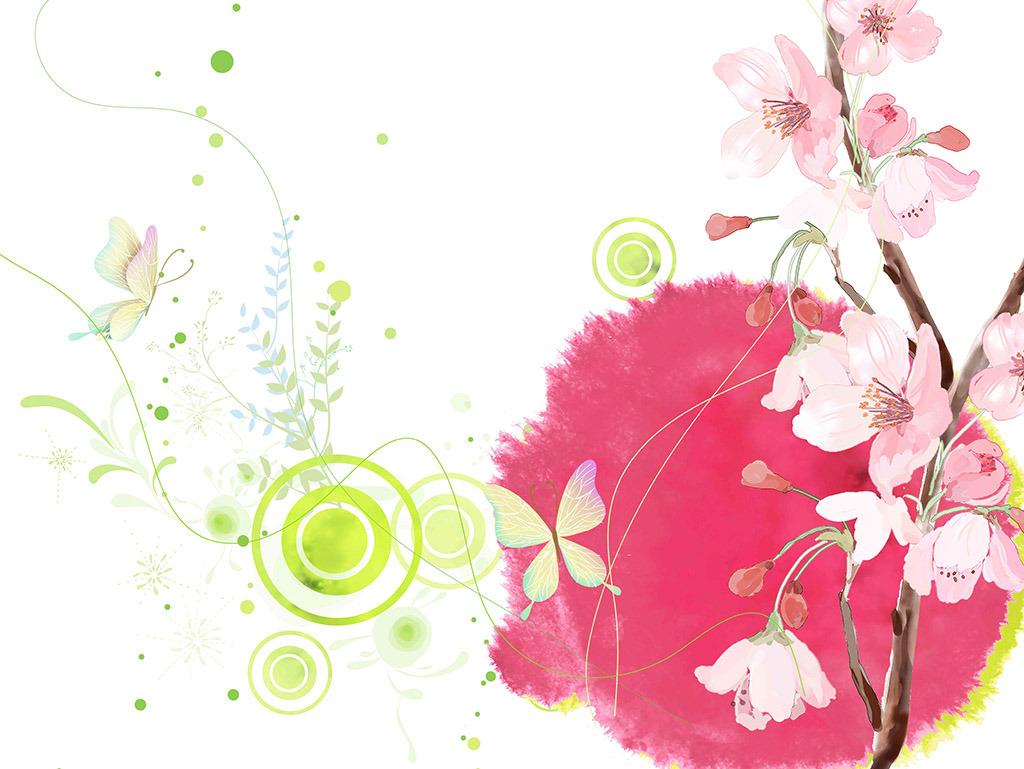 背景墙|装饰画 电视背景墙 手绘电视背景墙 > 木棉花蝴蝶花梦幻花朵