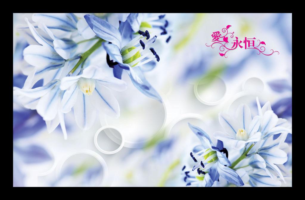 素描画 花瓣 手绘花朵 唯美 梦幻 电视墙 形象墙 简约 温馨 高雅