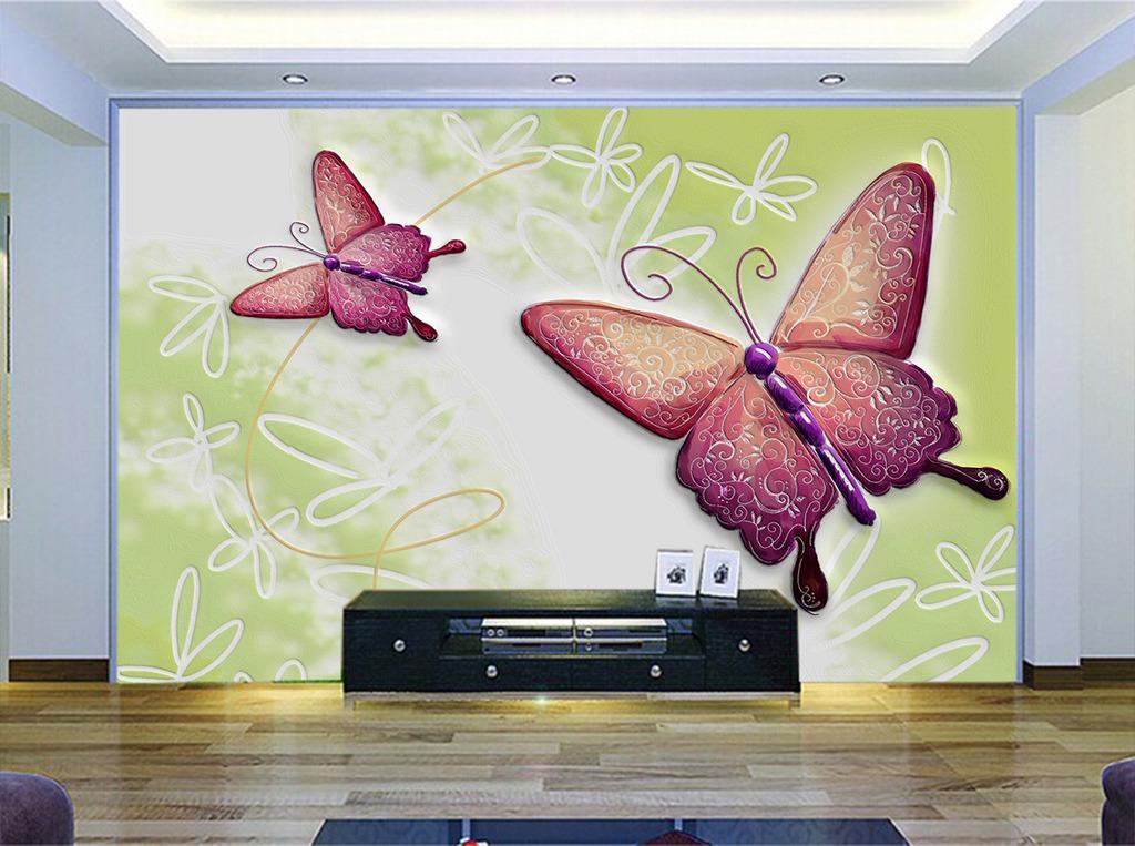 背景墙|装饰画 电视背景墙 电视背景墙 > 现代时尚硅藻泥蝴蝶手绘花瓣
