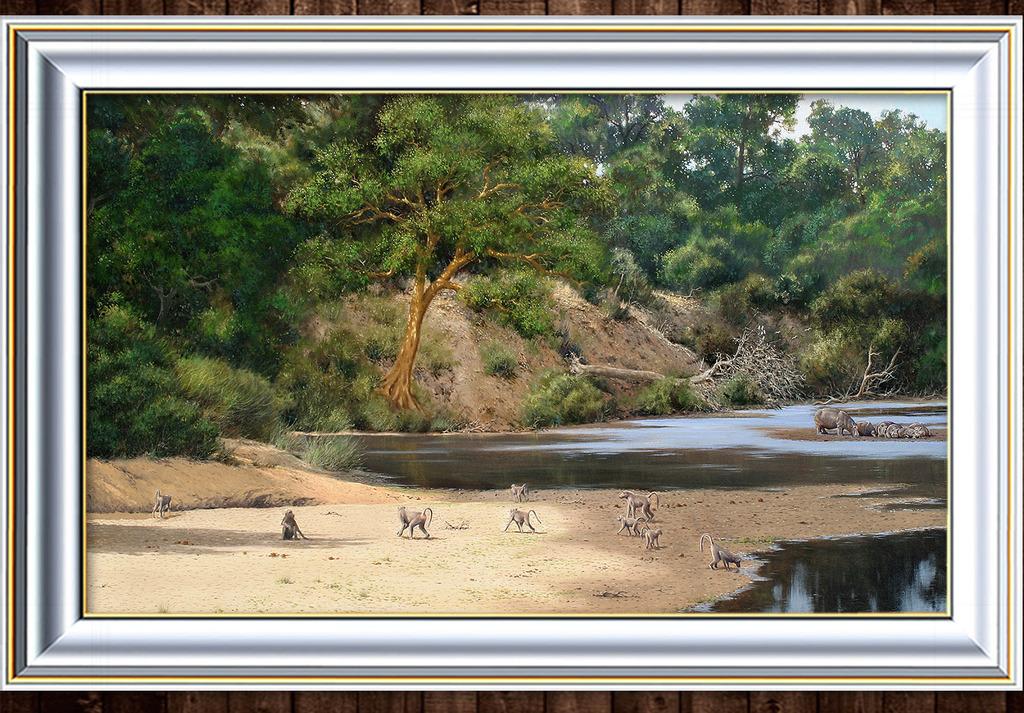 热带雨林的水边猴群写实风格油画