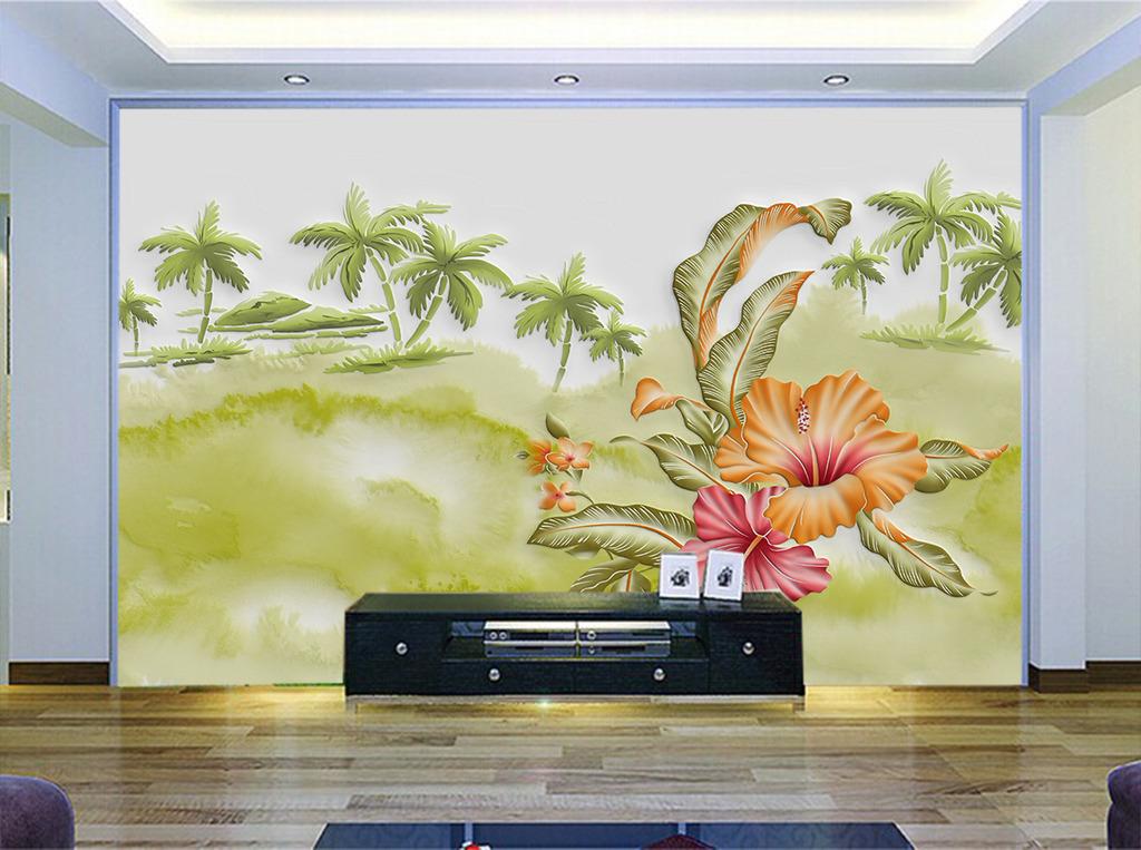 现代时尚硅藻泥手绘花瓣模板下载(图片编号:12274962)
