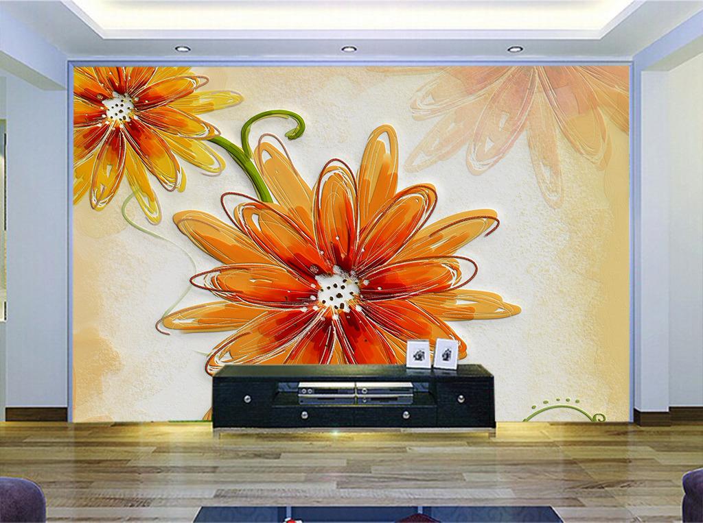 现代时尚硅藻泥凹凸红色手绘花瓣背景墙图片下载 白玫瑰电视背景墙