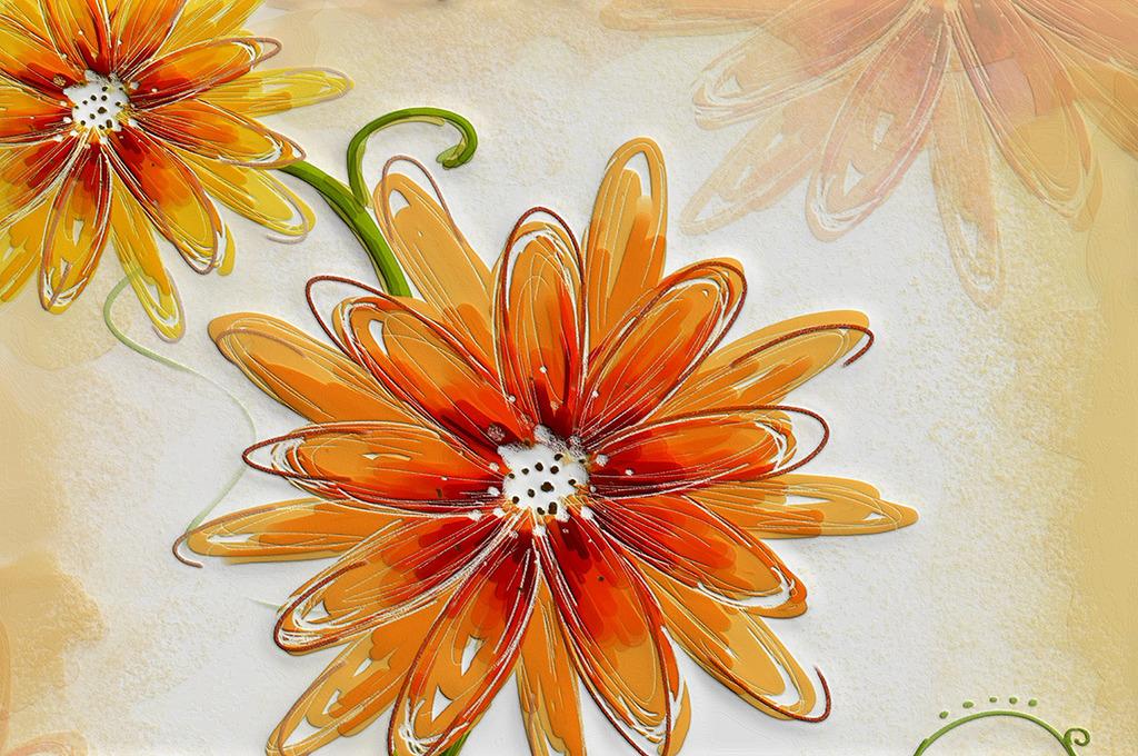 现代时尚硅藻泥凹凸红色手绘花瓣