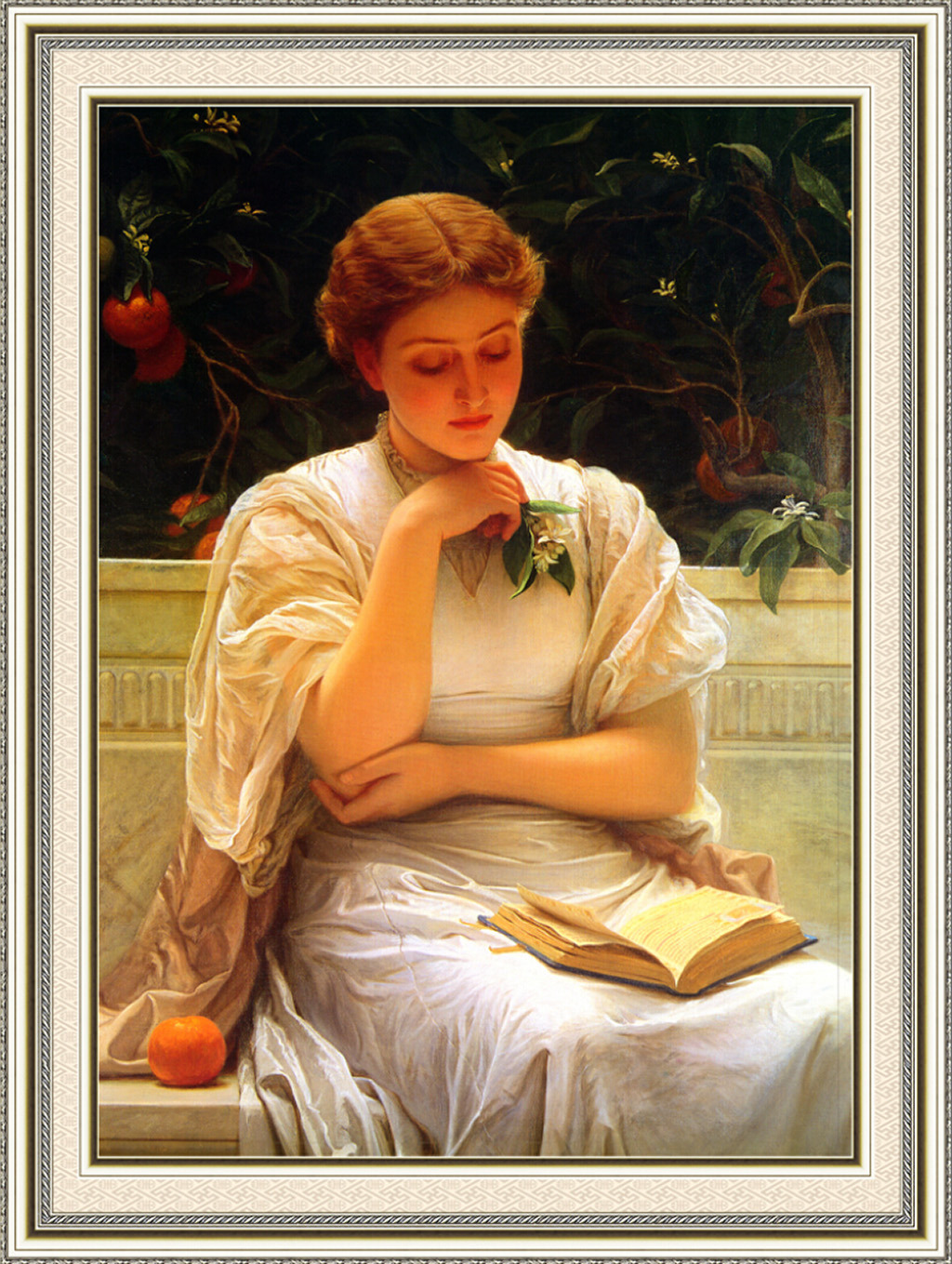 油画 读书/[版权图片]花园里的读书少女油画