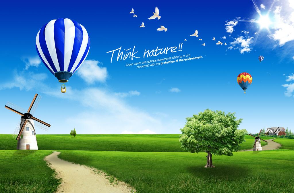 风车海报 房产海报 风车 鸽子 热气球 乡间小路 保护地球 生态环境