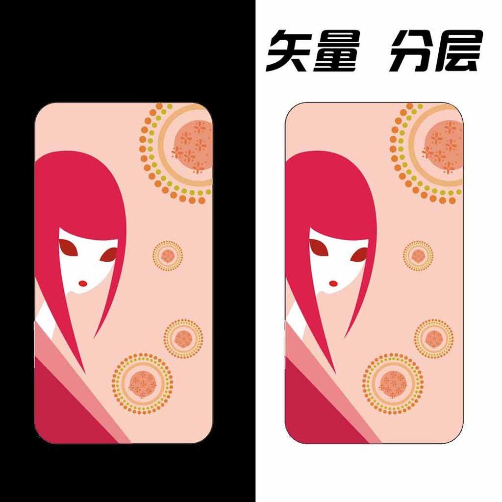 矢量卡通女孩手机壳图案设计