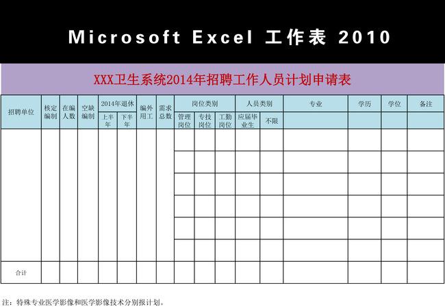 2014年招聘计划申请表excel模板