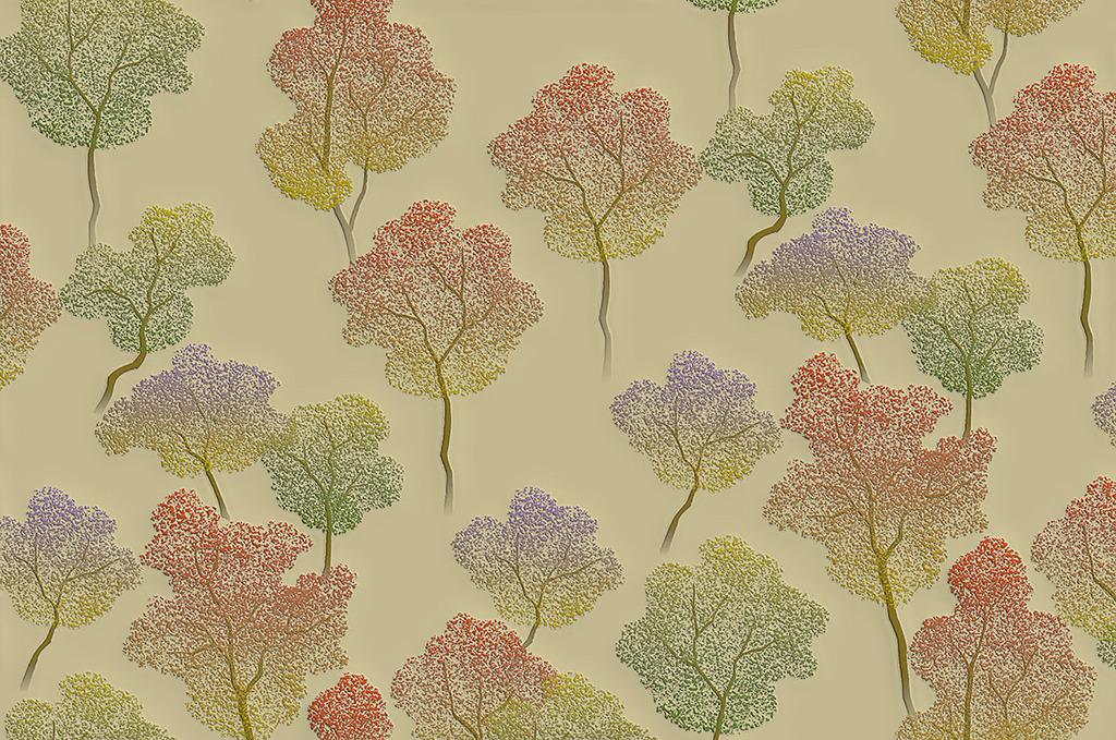 代时尚硅藻泥凹凸树手绘背景墙图片下载