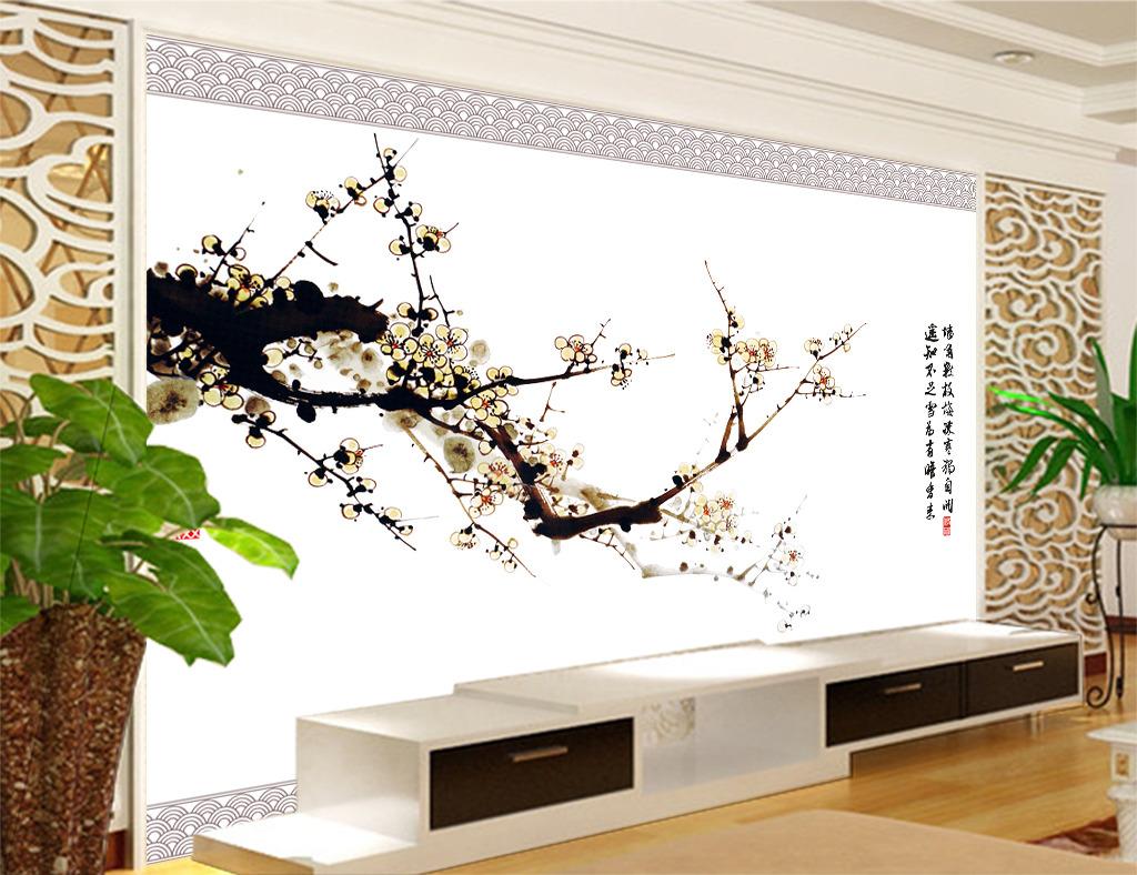 中式古典风格梅花电视背景墙