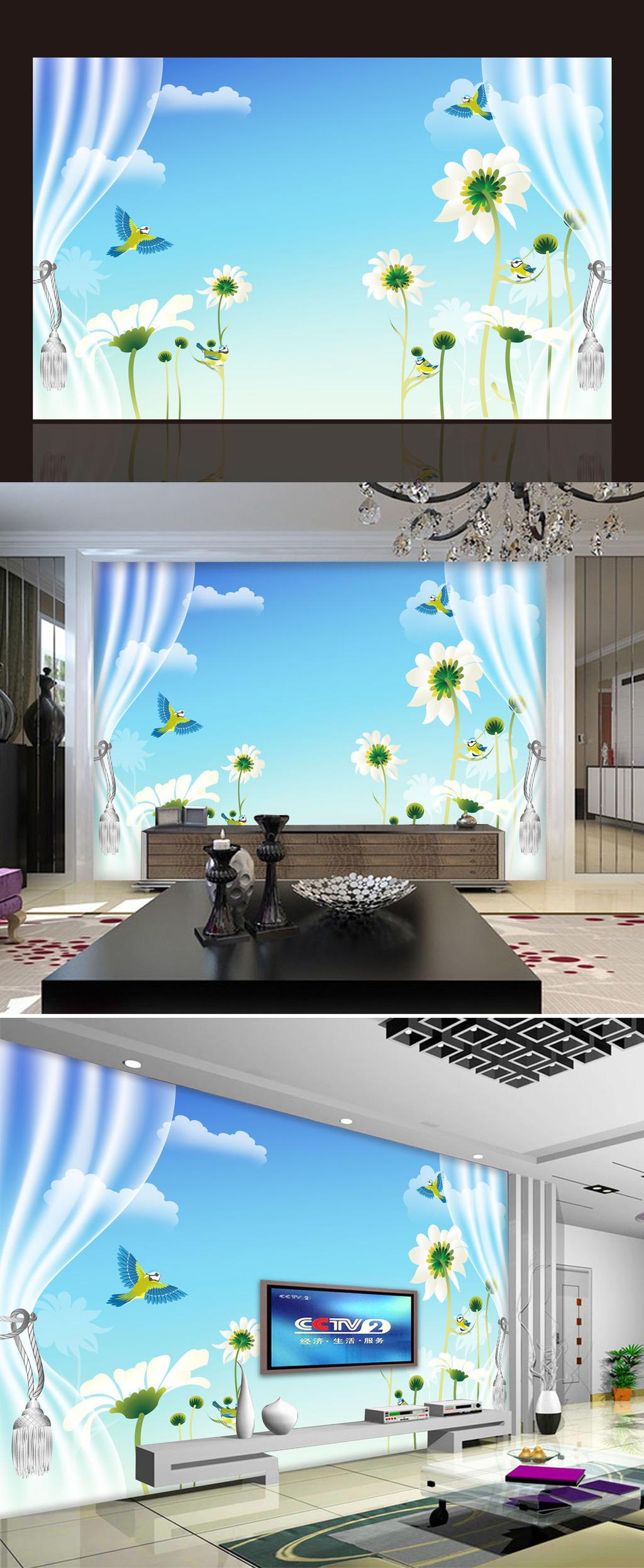 现代窗外风景花卉电视背景墙