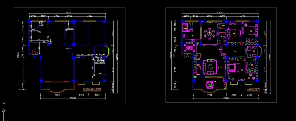 中式风格室内装修cad施工设计图纸