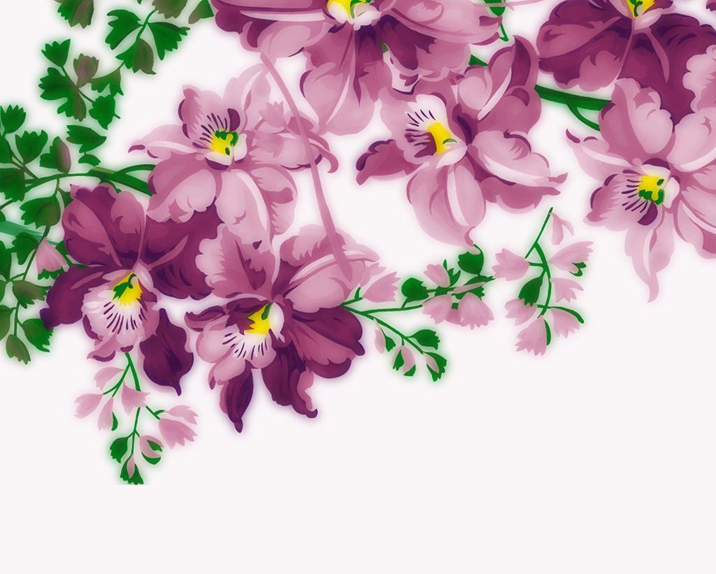 紫色花卉电视背景墙紫色花朵
