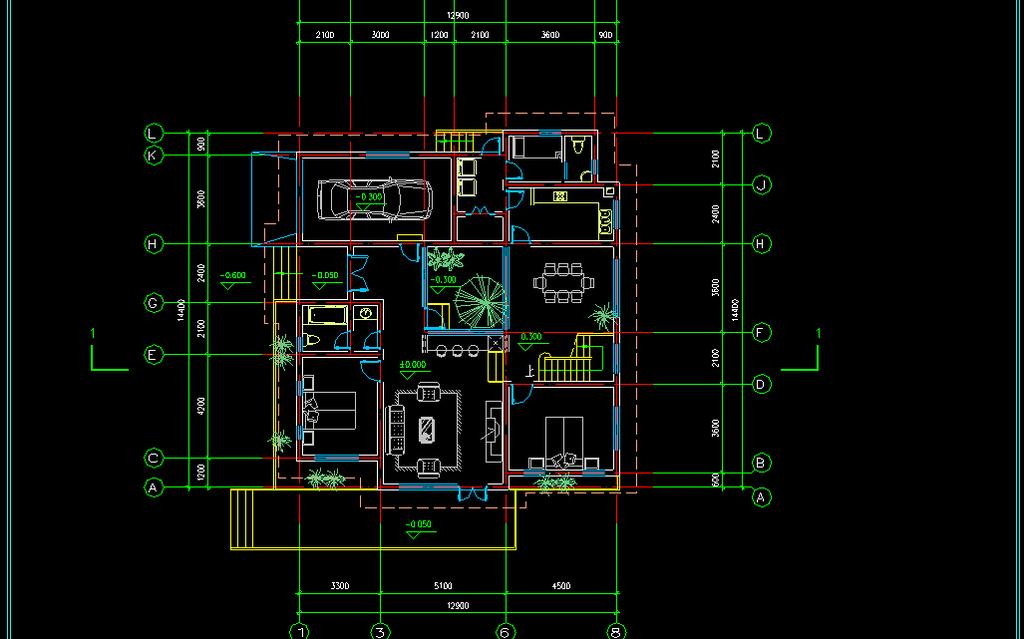 两层别墅欧式风格带方案施工图cad图纸