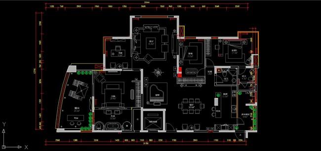 三室两厅室内装修cad施工设计图纸