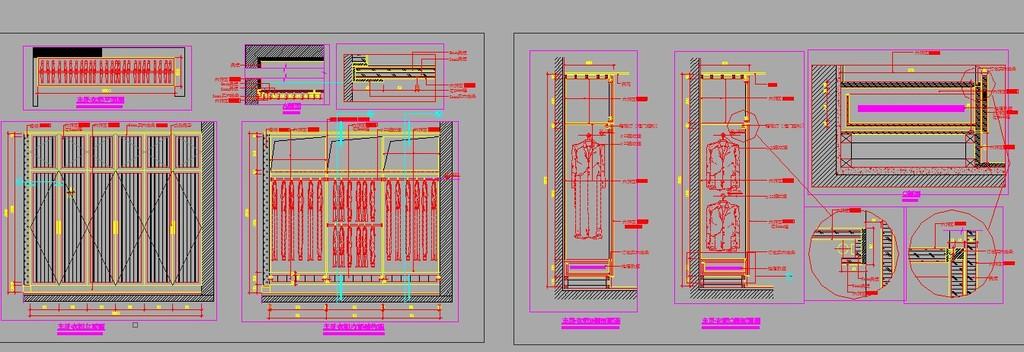 三室两厅室内装修cad施工设计图纸模板下载(图片编号