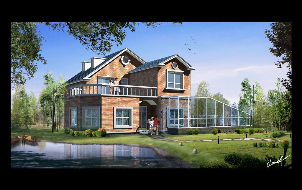 红色砖型别墅cad图纸