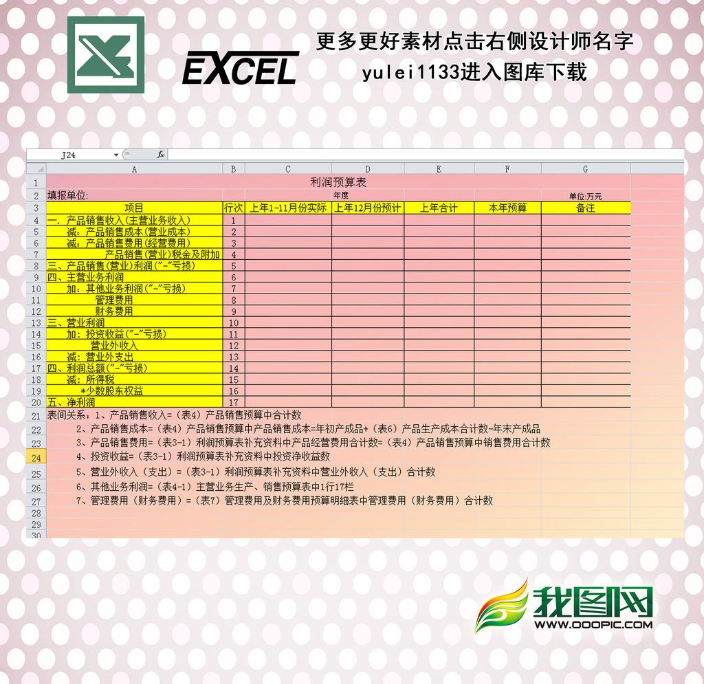 利润预算表模板下载(图片编号:12280984)_财务报表__.