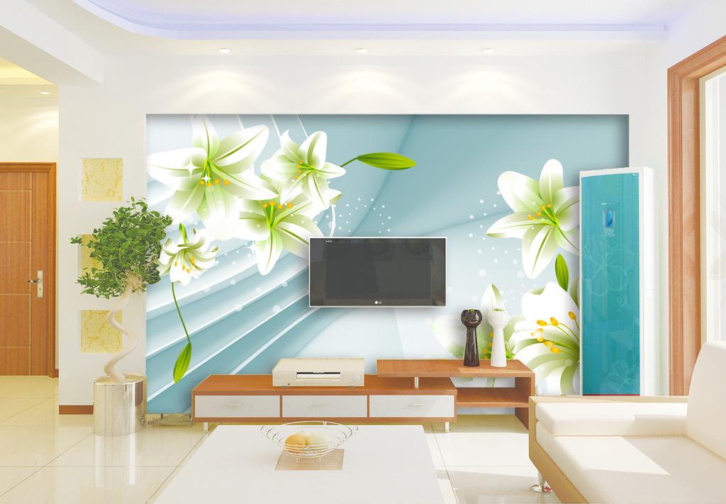3d空间百合花电视背景墙