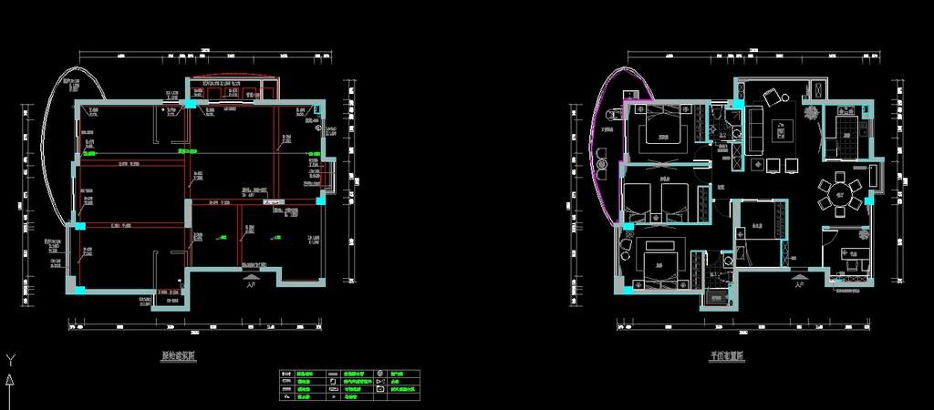 现代风格三室室内装修cad施工设计图纸