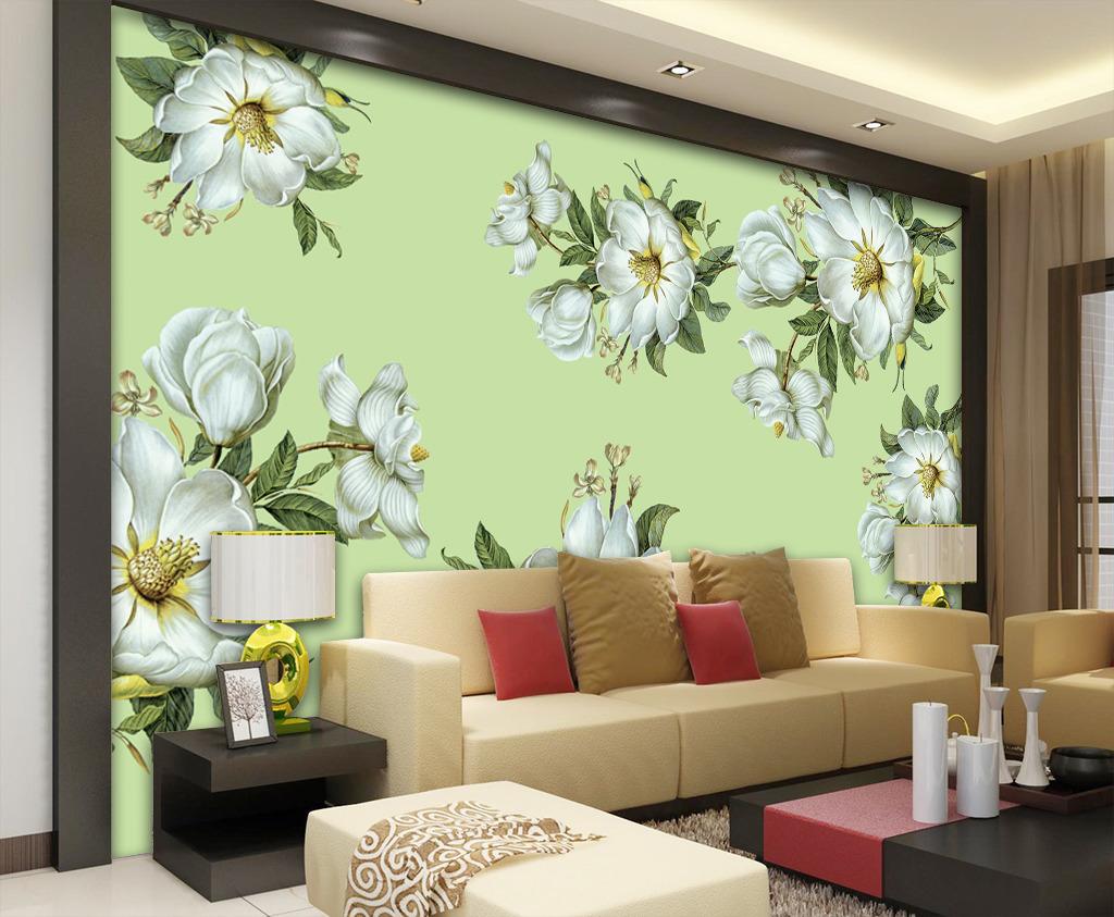 手绘花卉电视背景墙