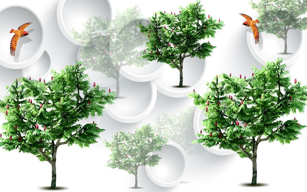 爱情树绿树小鸟立体树木