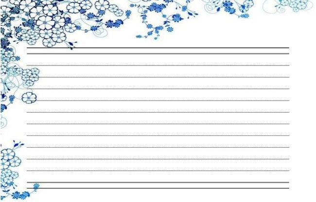 办公|ppt模板 word模板 信纸背景 > 清新中国风青花瓷画信纸背景图片