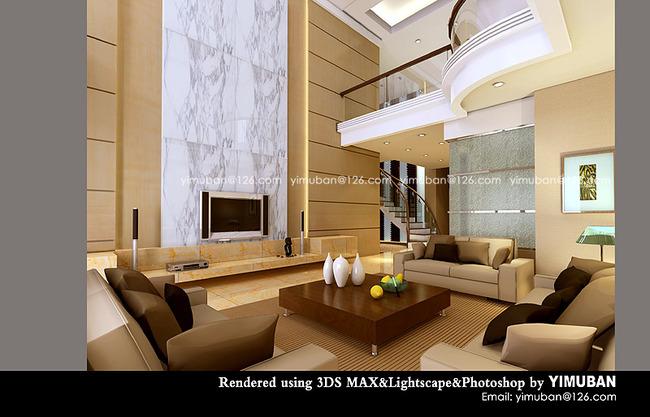 室内客厅装修设计效果图模板下载