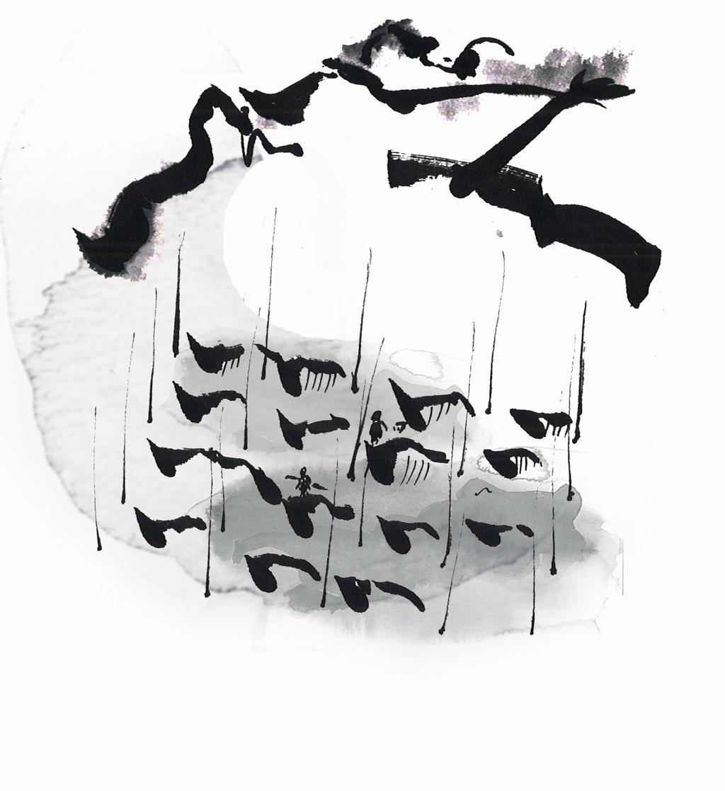 中国风水墨手绘山水