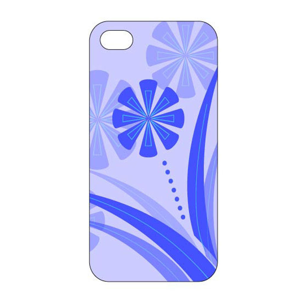蓝色花卉创意手机壳设计模板