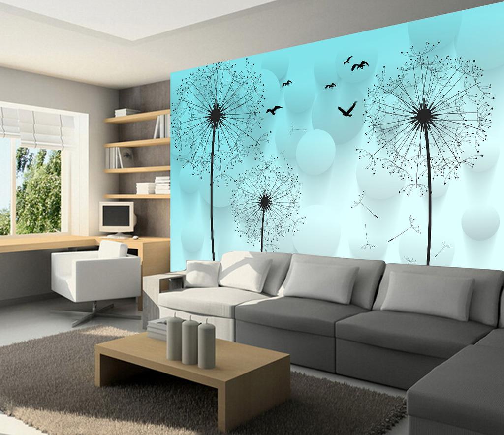 立体手绘蒲公英电视背景墙壁画