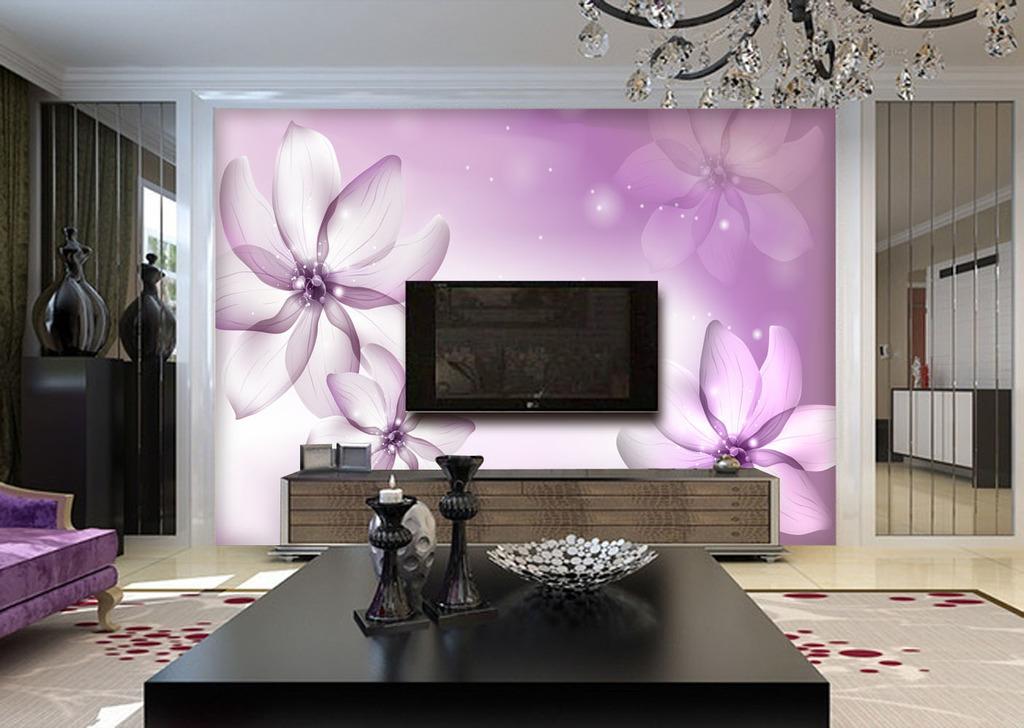 手绘梦幻花现代客厅电视背景墙壁画