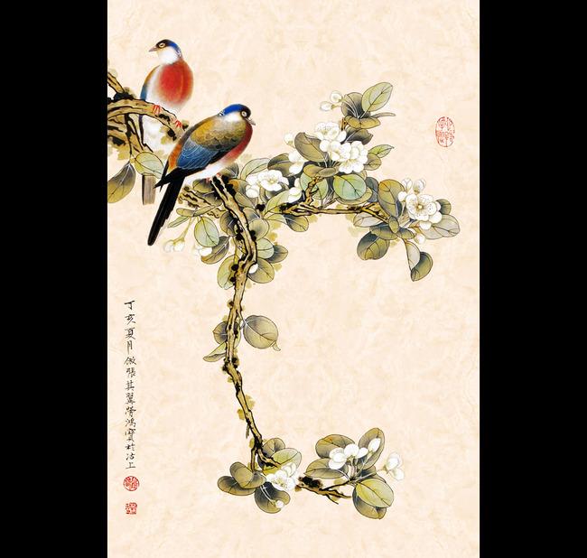中式花鸟画壁纸