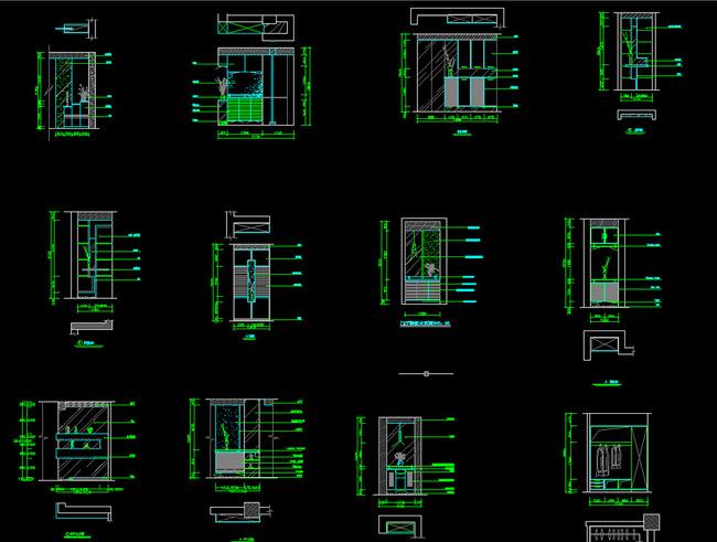 cad结构图 玄关鞋柜 cad平面图施工图工程图 玄关立面施工图 玄关鞋柜