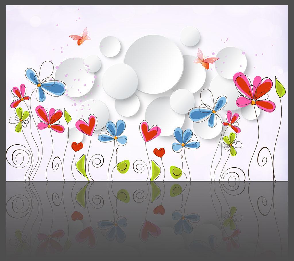 背景墙 花朵/淡雅花朵简约时尚3D背景墙模板下载