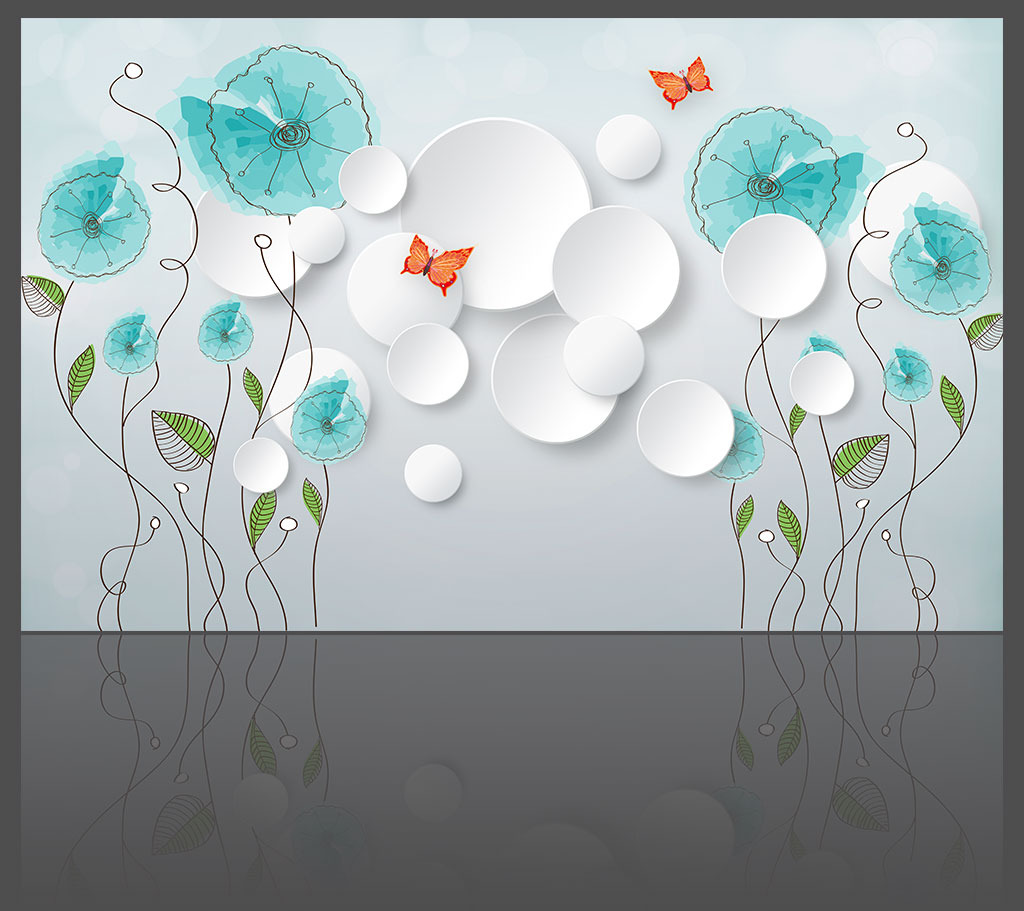 背景墙 花卉/淡雅花卉时尚3D背景墙模板下载