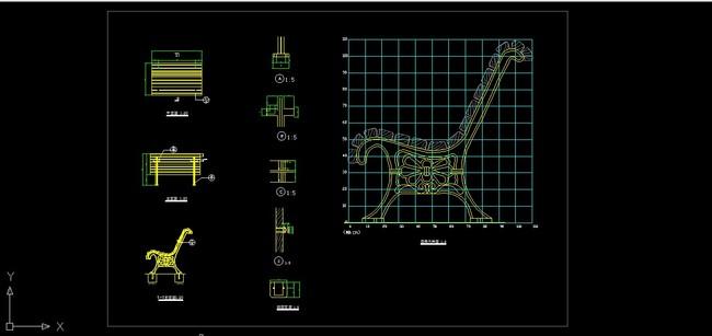 平面图 立面图 剖面图 说明:公园座椅平立剖cad设计图纸景观园林 分享