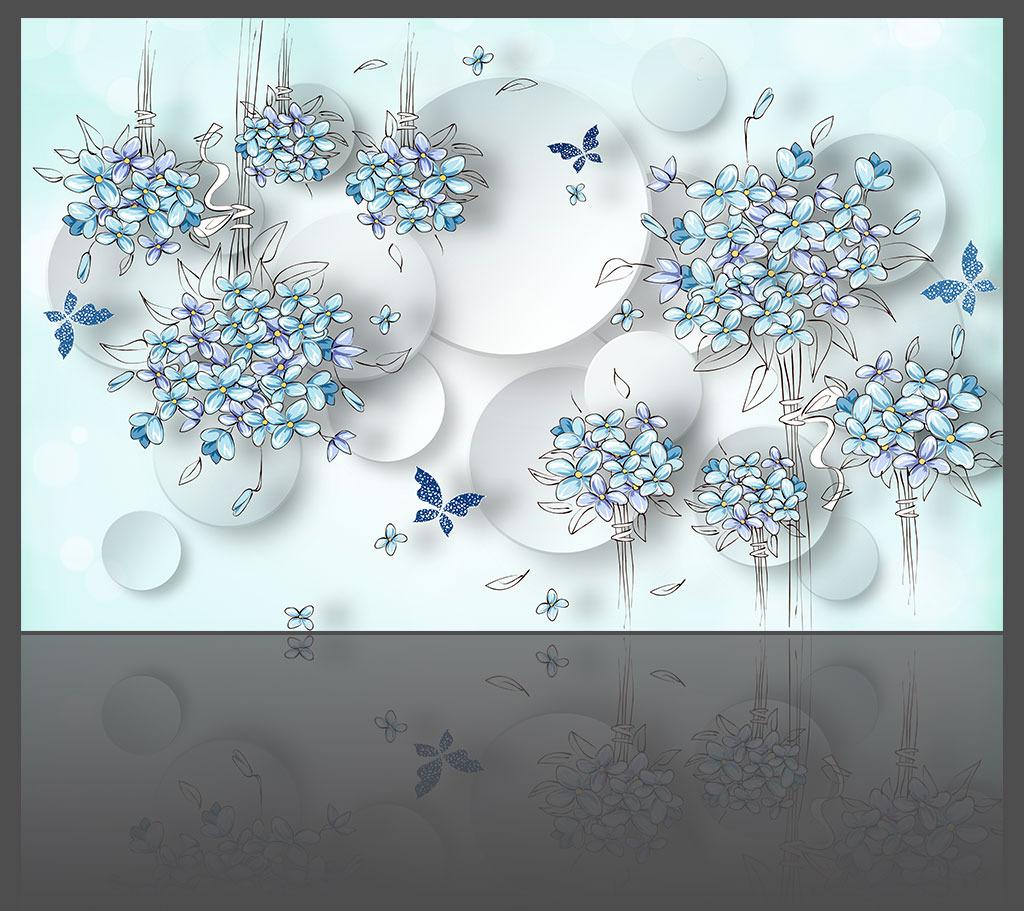 背景墙 花朵/淡雅花朵典雅3D背景墙模板下载