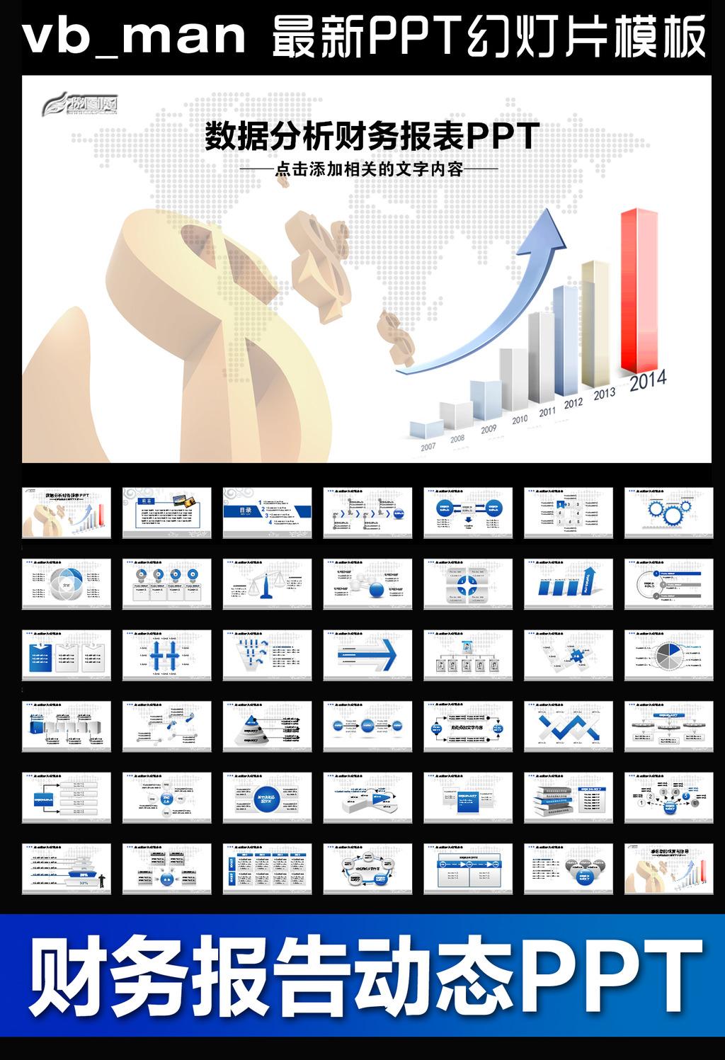 财务报告金融数据分析调研动态ppt模板