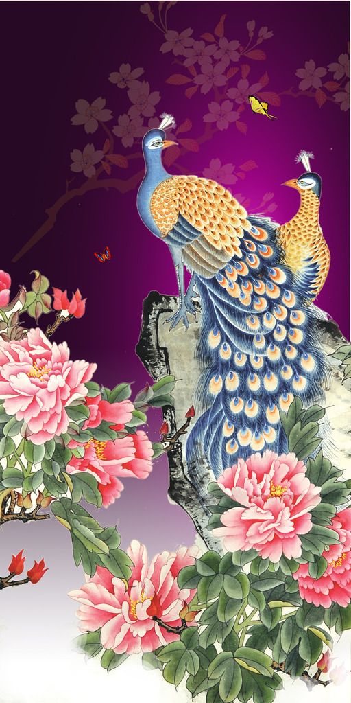富贵牡丹图孔雀图工笔花鸟玄关壁画