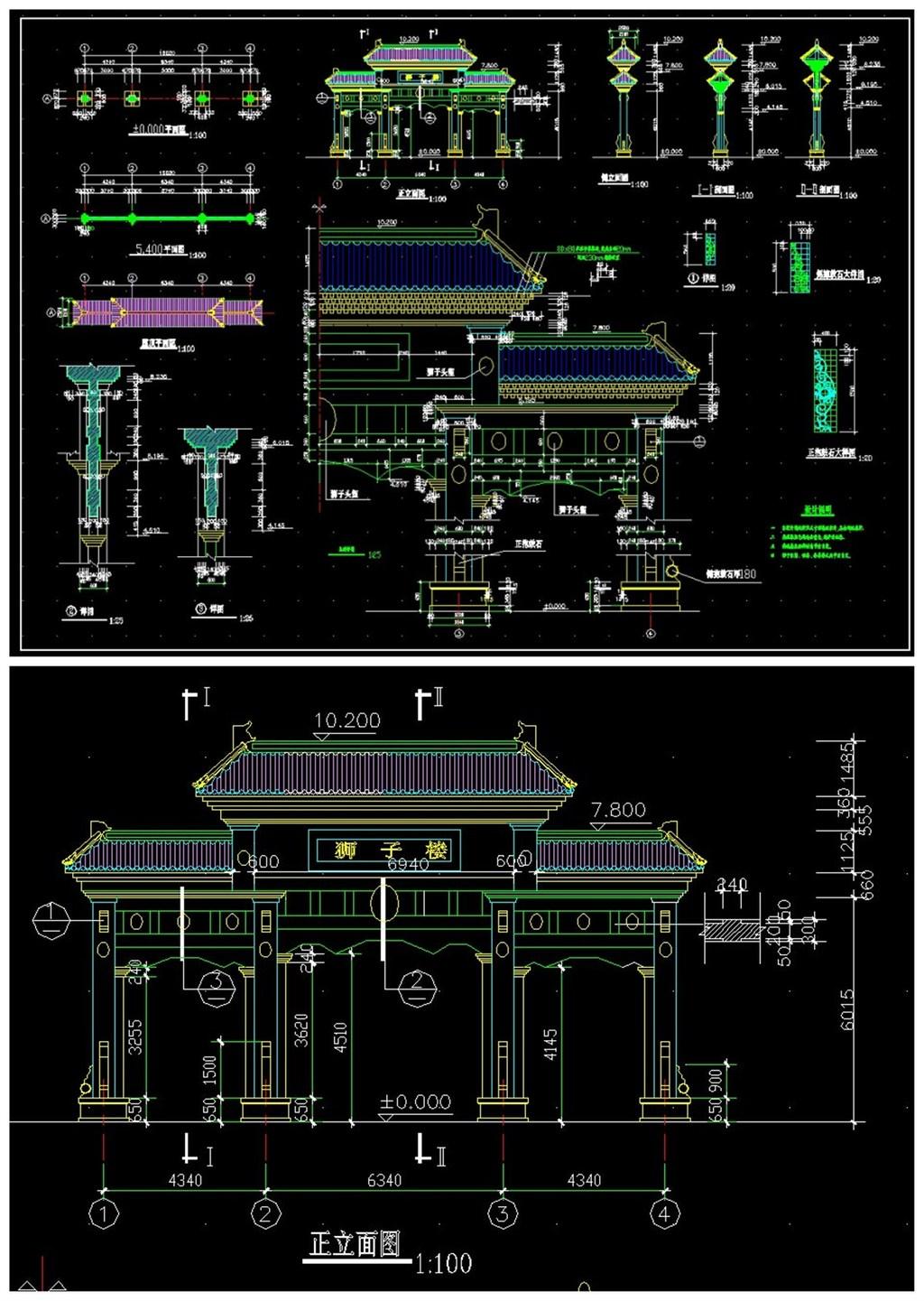 牌楼建筑cad施工图