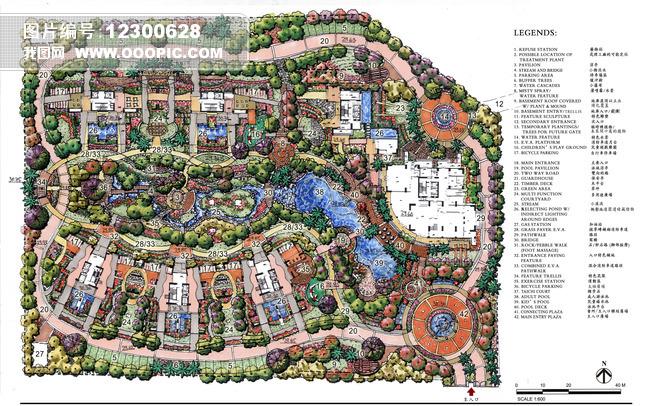 某花园全套景观手绘效果图文本方案65张图片下载平面图立面图剖面图