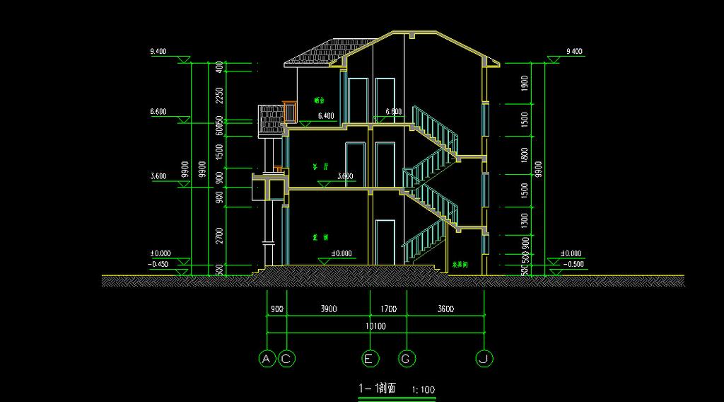 别墅整套施工图cad图纸
