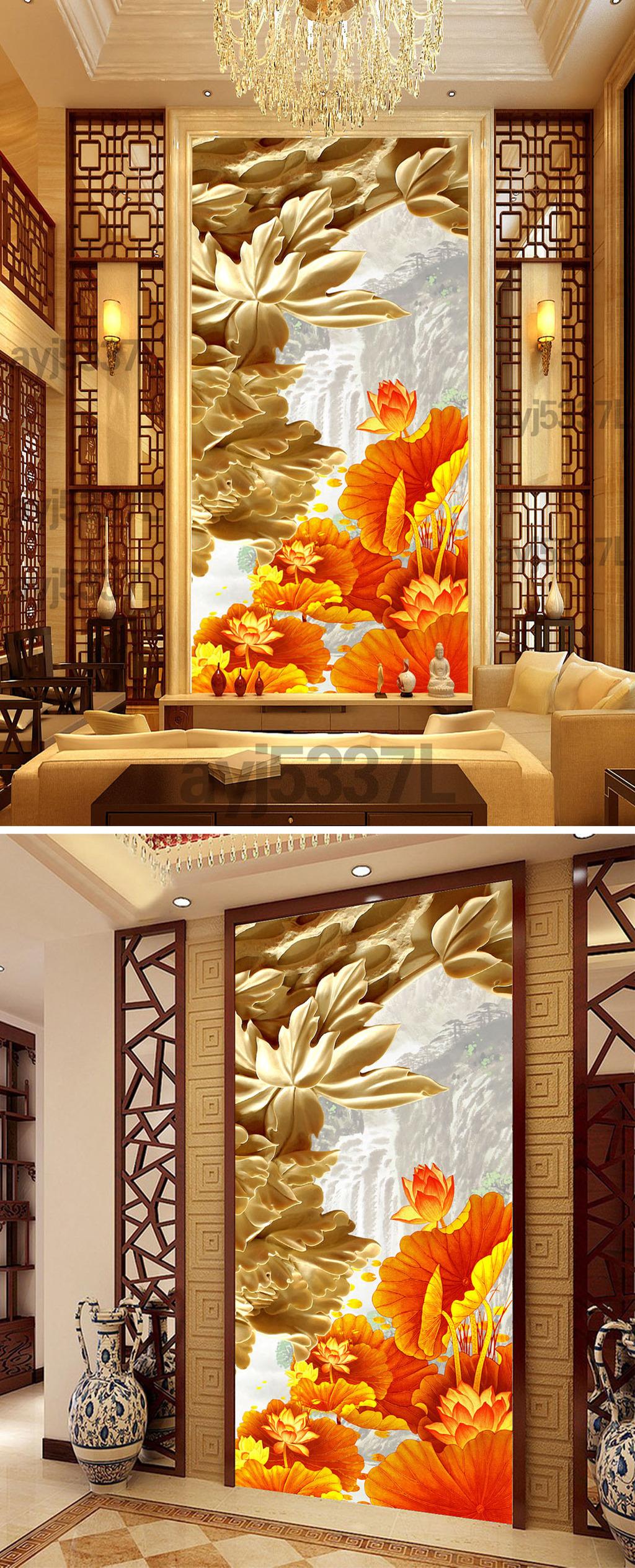 金色牡丹花开木雕玄关过道背景墙