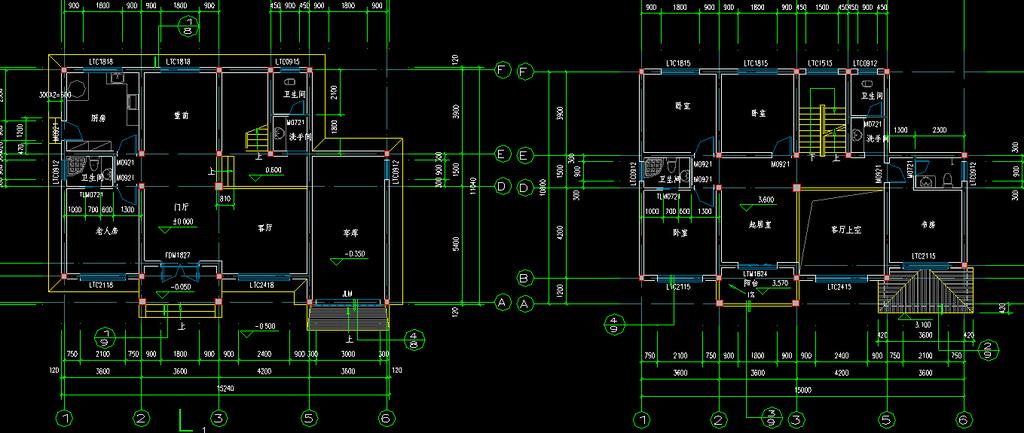 农村别墅整套施工图cad图纸模板下载(图片编号:)_家具
