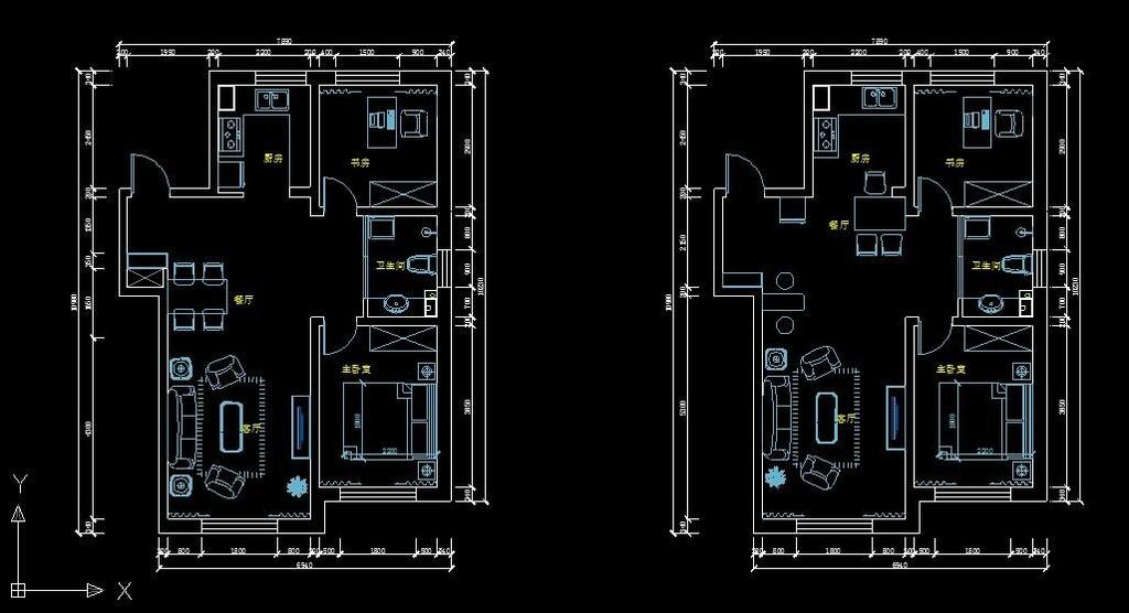 室内设计 cad图库 家装施工cad图纸 > 89平方米两室两厅平面布置图
