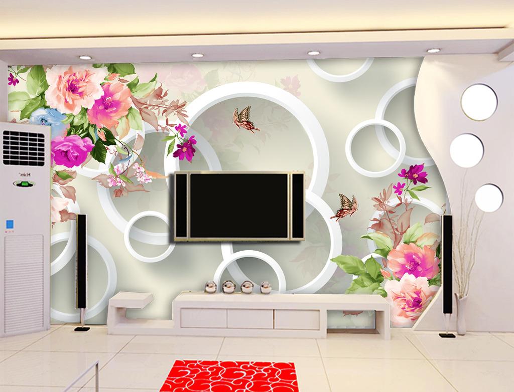 手绘牡丹3d电视背景墙