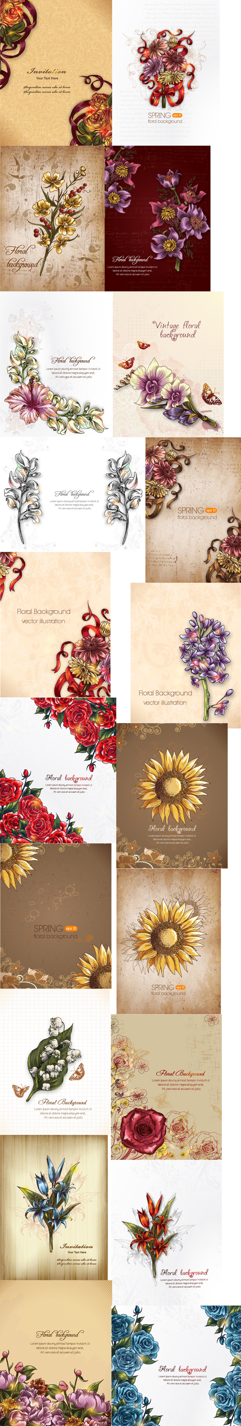 欧式创意手绘七彩彩色绚丽花纹eps矢量图
